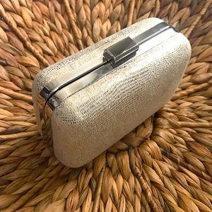 Carolee Metallic Silver Evening Clutch Bag